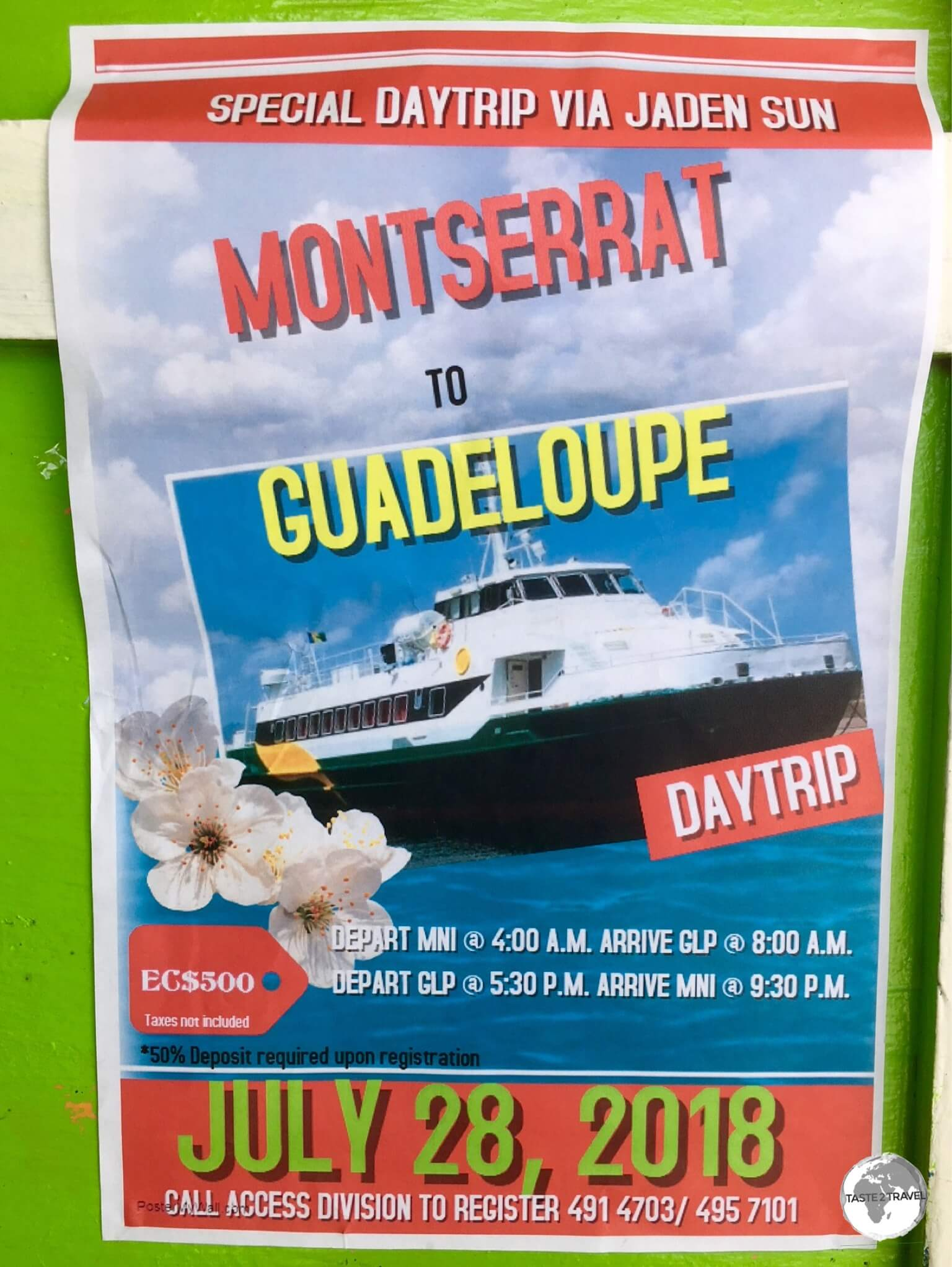 An advertisement announces a charter trip to Guadeloupe on the Jaden Sun.