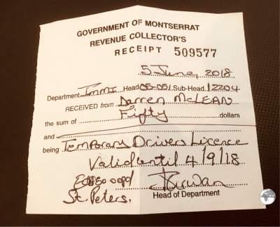 My temporary Monserrat drivers license.