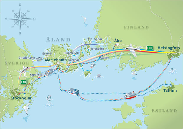 Air & sea routes to the Åland Islands. Source: VisitAland.com
