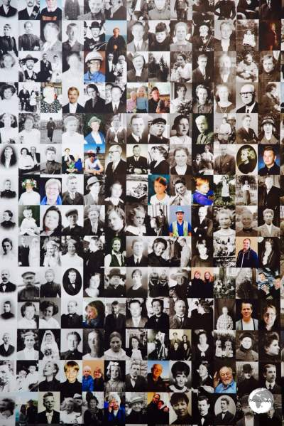 A photographic collage of Ålanders at the Åland art museum in Mariehamn.