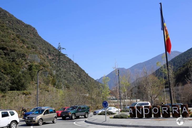 Traffic waiting to enter Spain from Andorra. Constant traffic jams are guaranteed due to thorough customs checks on the Spanish side. always