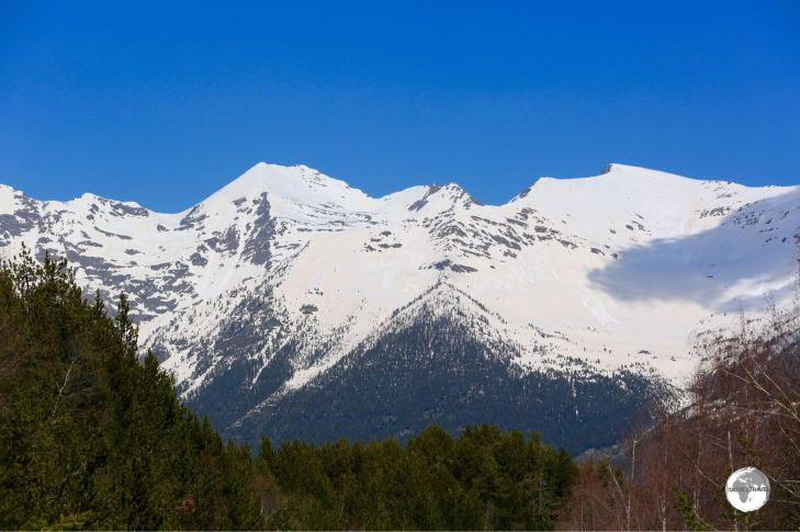 Views of the towering Pyrenees mountain range in Andorra.