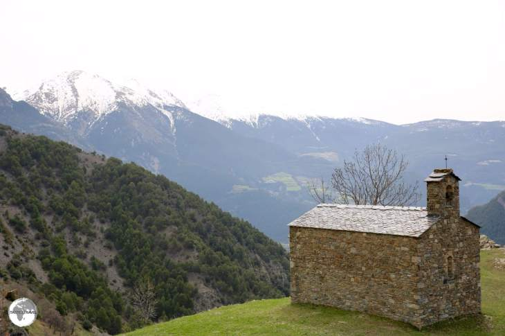 The tiny chapel of Sant Joan d'Aixàs sits atop a ridge which offers panoramic views in all directions.