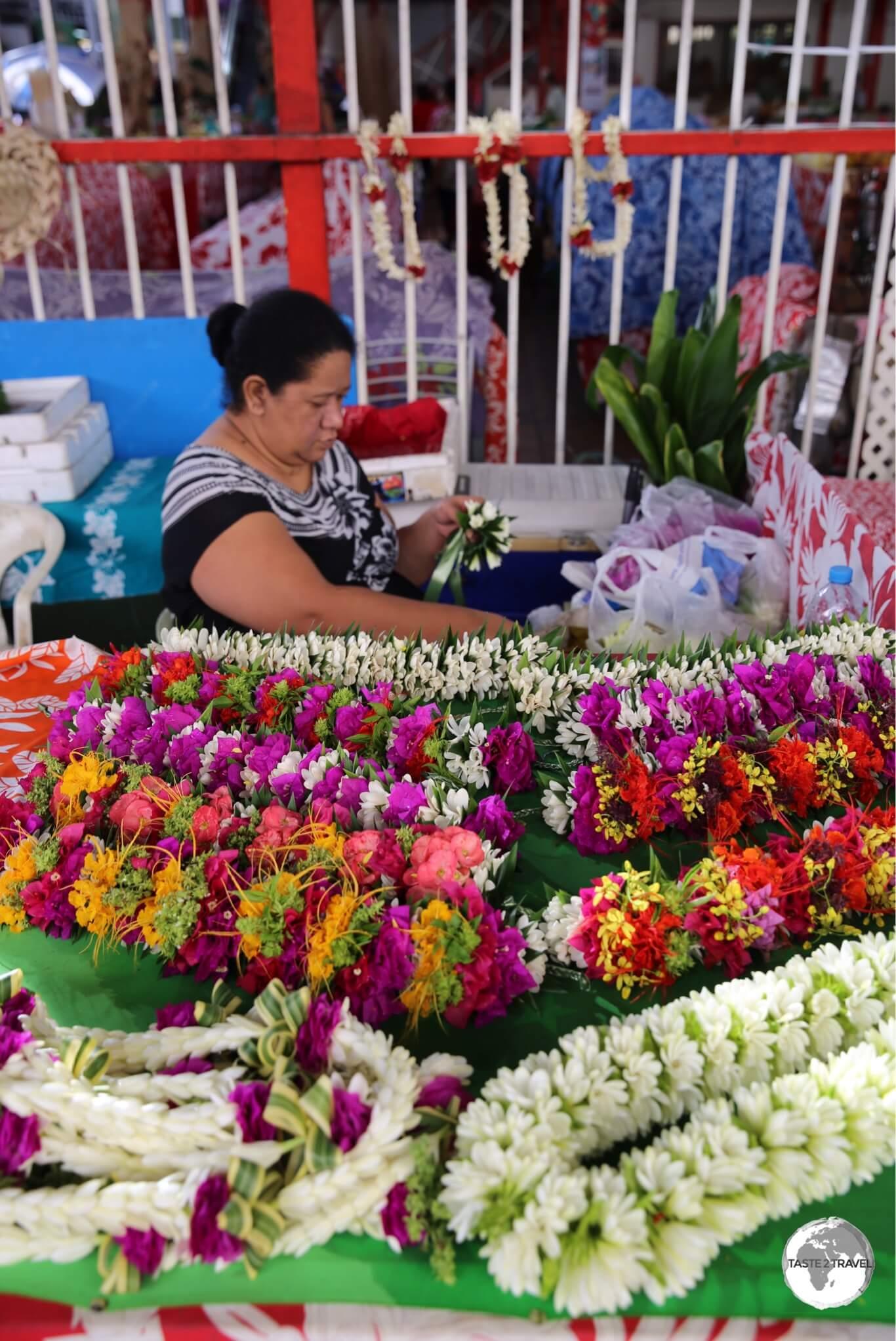 Flower seller at Papeete Central Market.