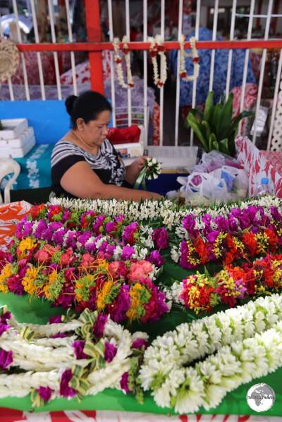 Flower seller at Papeete Central Market.