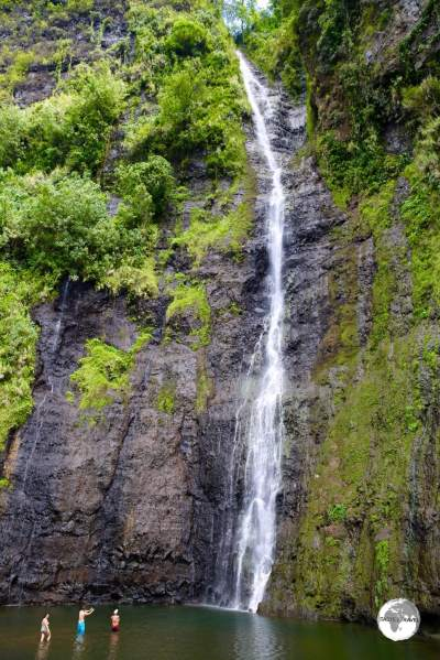 The incredibly high Faarumai waterfall is a spectacular sight.