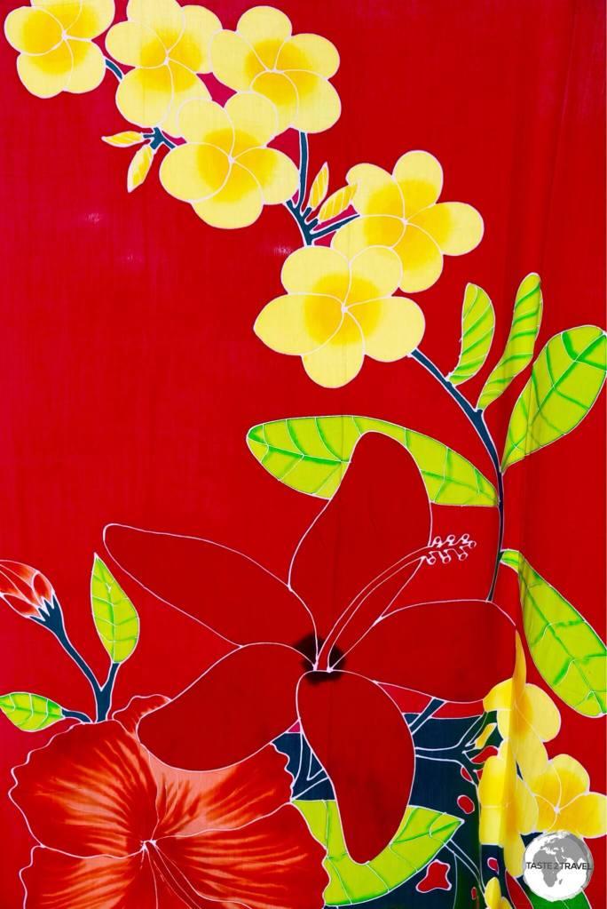 Hand-printed fabrics for sale on Moorea.