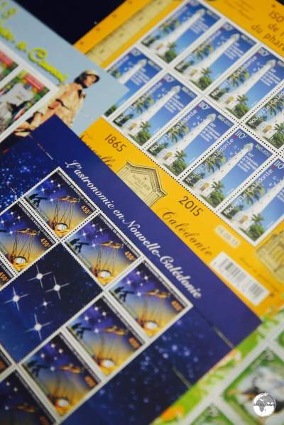 Stamps on sale at Calédoscope, the OPT philatelic shop in downtown Noumea.