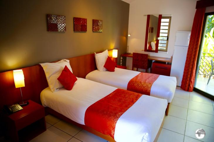 My beautiful and spacious room at La Nea hotel in Koné.