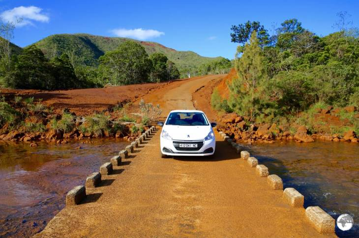 My rental car, crossing a river in a remote corner of Le Grand Sud region.