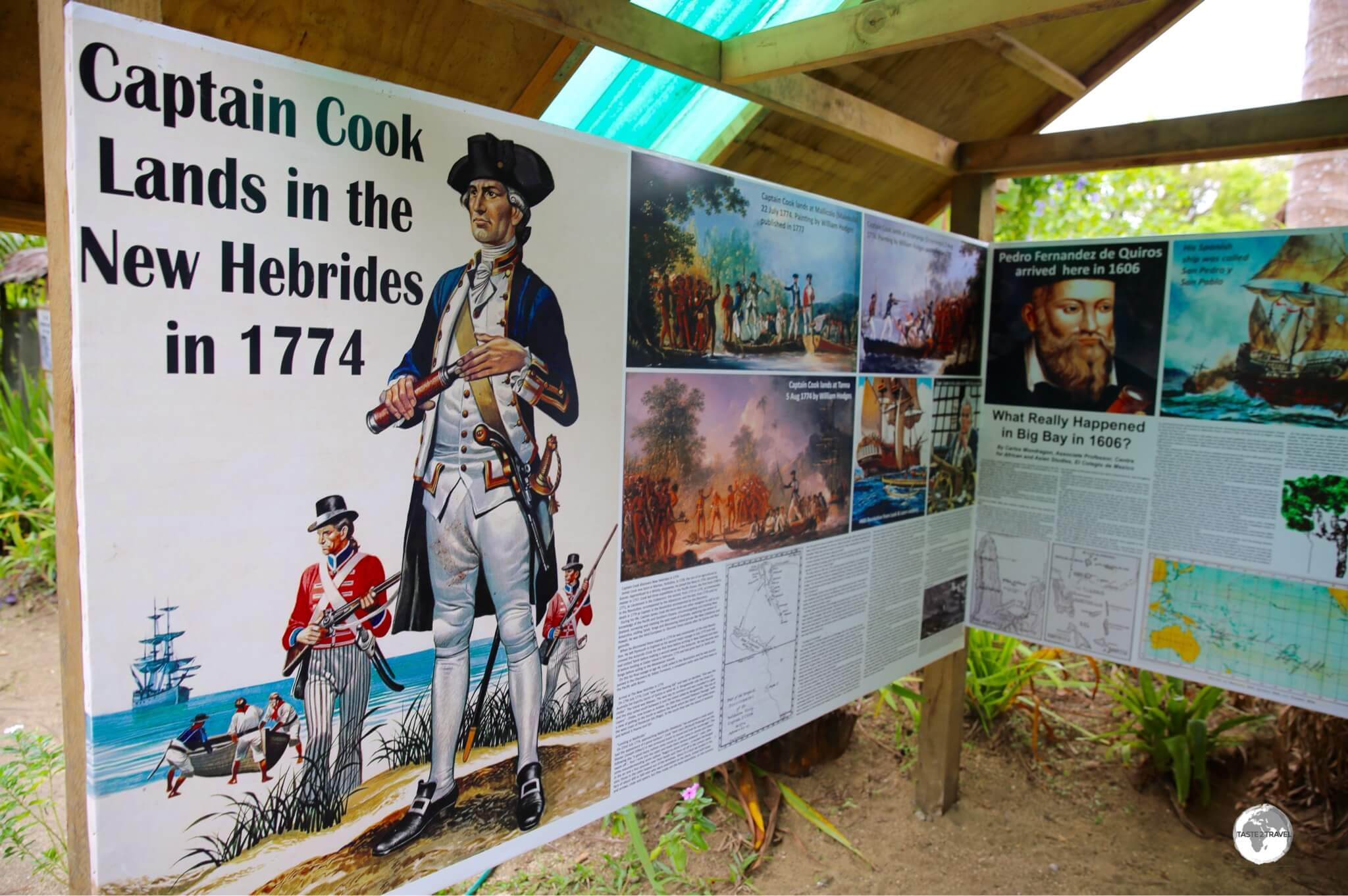 A display at the Secret Garden provides information on first European Contact with Vanuatu.