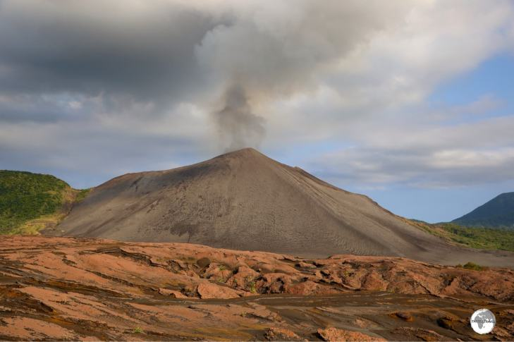 Mount Yasur volcano, as viewed from the ash plain.