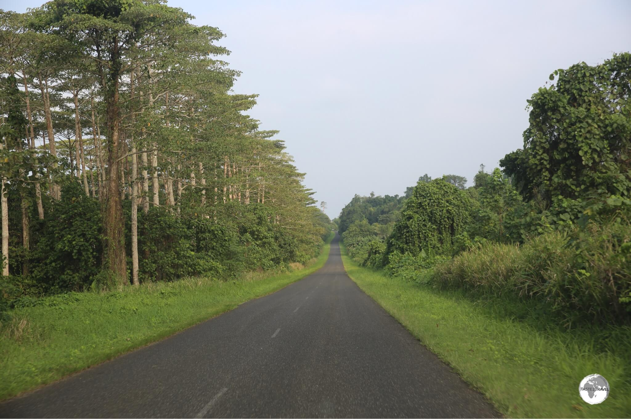 The one sealed road on Santo runs along the east coast.