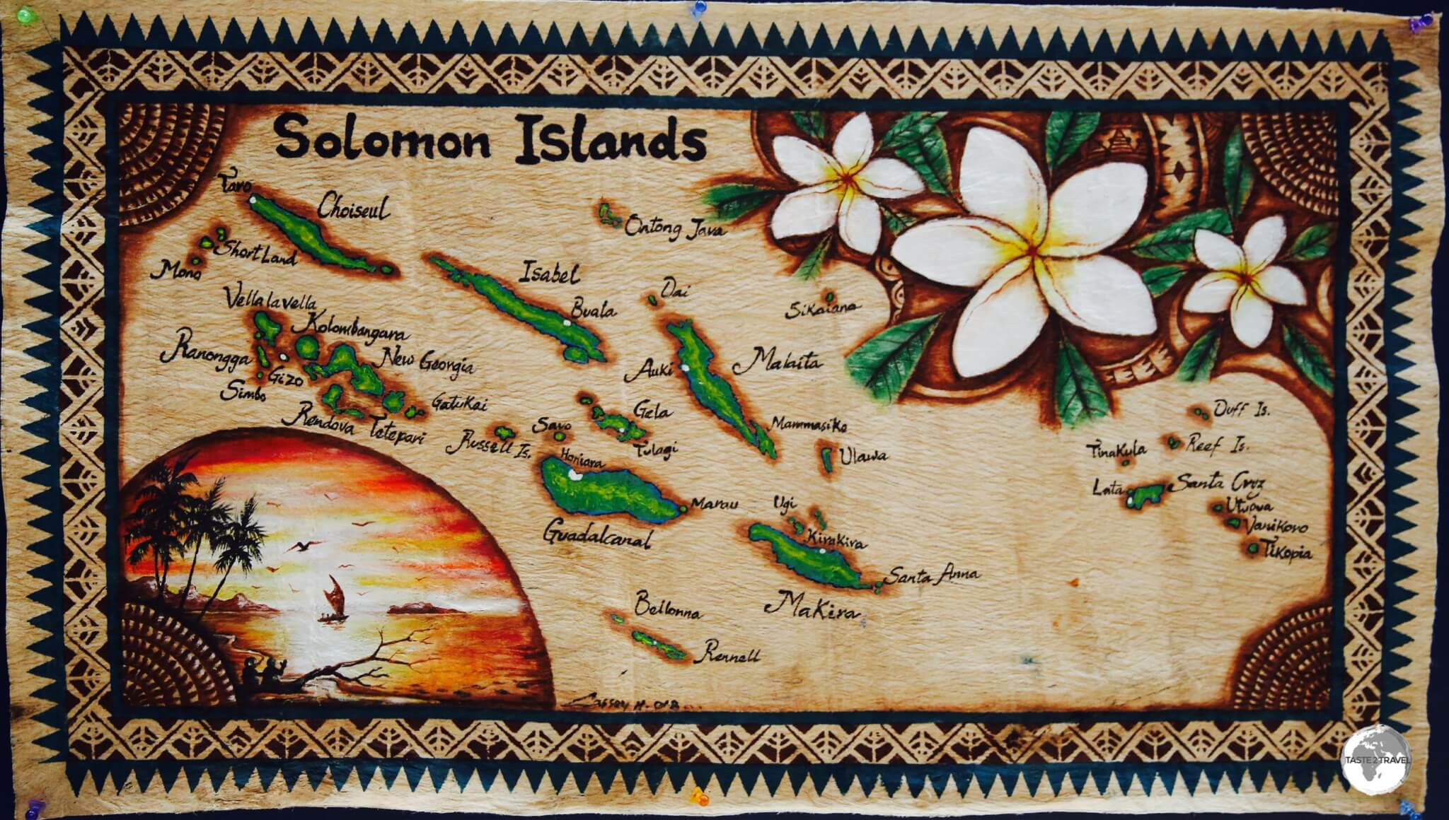 A map of the Solomon Islands painted on traditional Tapa cloth.
