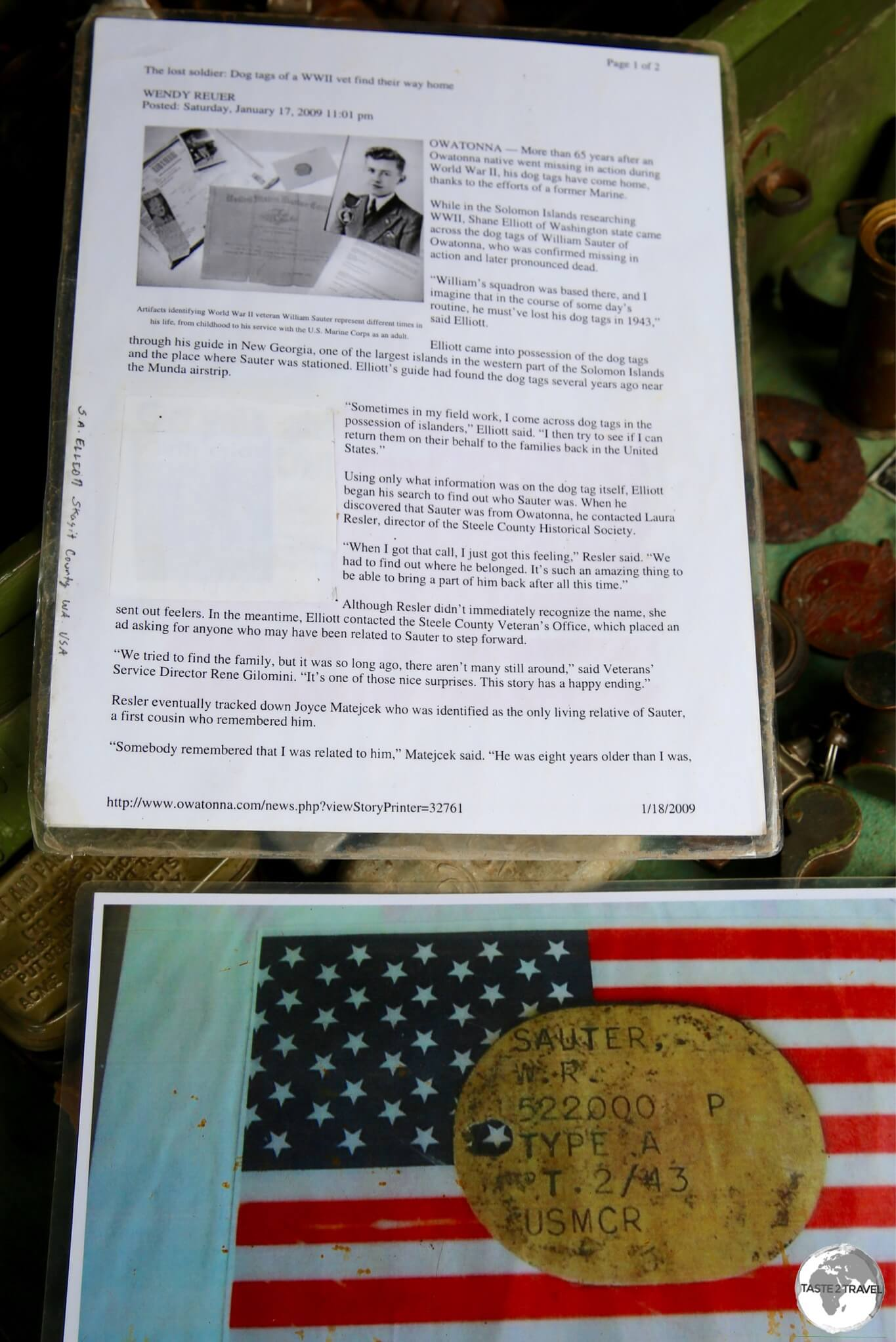 An article in an American newspaper tells the story of the return of a local soldiers dog tags from Barney.