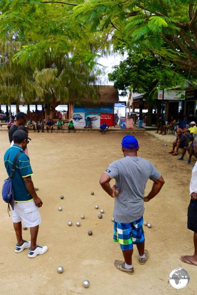 There are plenty of French influences in Vanuatu including the love of 'Boules', being played here in Port Vila.