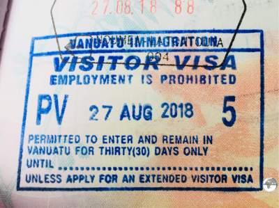 Vanuatu Passport Stamp.
