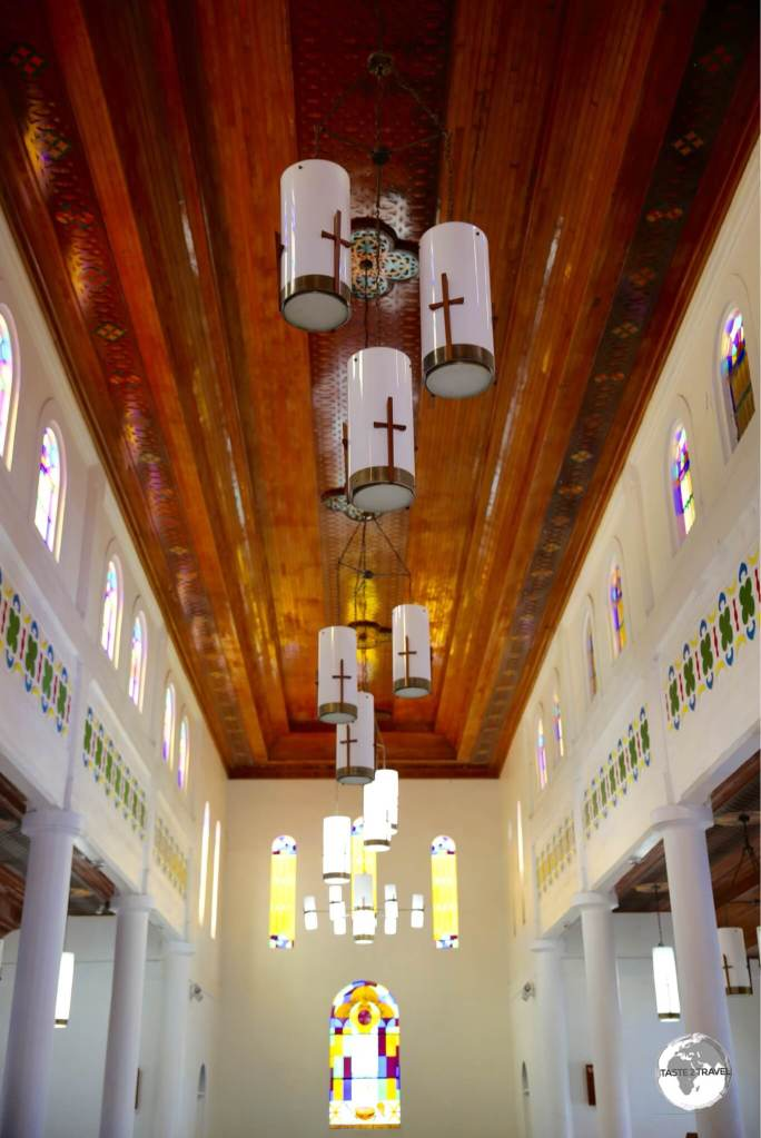 The interior of Pago Pago cathedral.