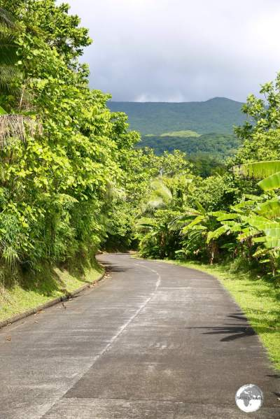 The one, concrete road on Ta'u runs along the north shore of the island, connecting the few villages on the island.