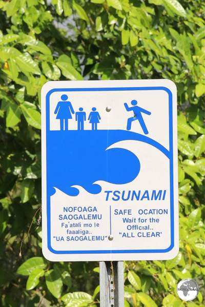 Tsunami evacuation points can be found on high ground, outside of every village in American Samoa.