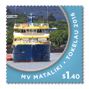A Tokelau stamp featuring the MV Mataliki.