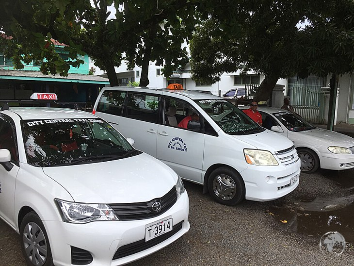 One of the many taxi ranks in Apia.