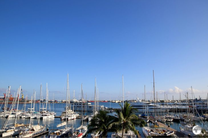 A very fine view of Papeete harbour from the balcony of my room at the Hotel Tahiti Tiare.