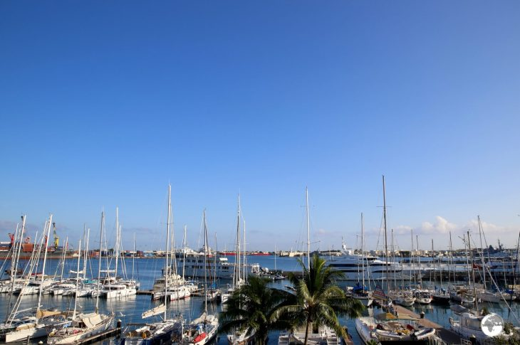 A very fine view of Papeete harbour from the balcony of my room at the Hotel Tiare Tahiti.