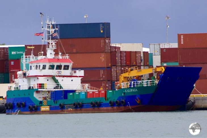 "Tokelau's ""MV Kalopago"" cargo ship, seen here docked at Apia harbour."