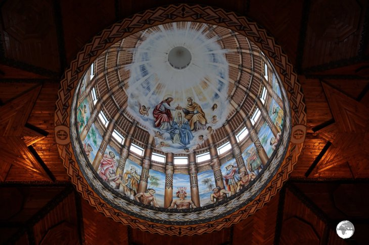 The artwork in the central dome of the Immaculate Conception Cathedral combines European and Samoan influences.