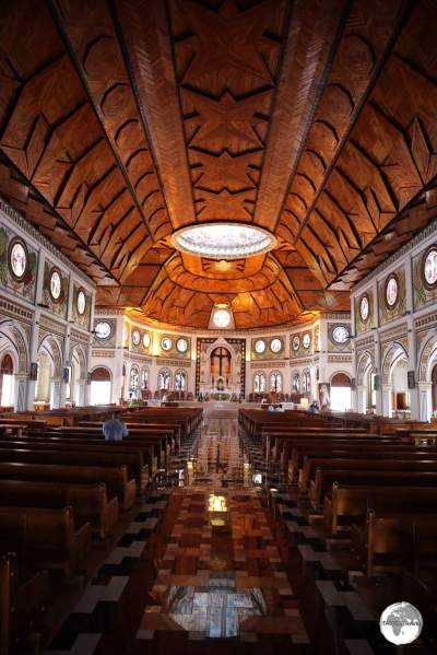 The striking interior of the Immaculate Conception Cathedral, which can accommodate 2,000 worshippers.