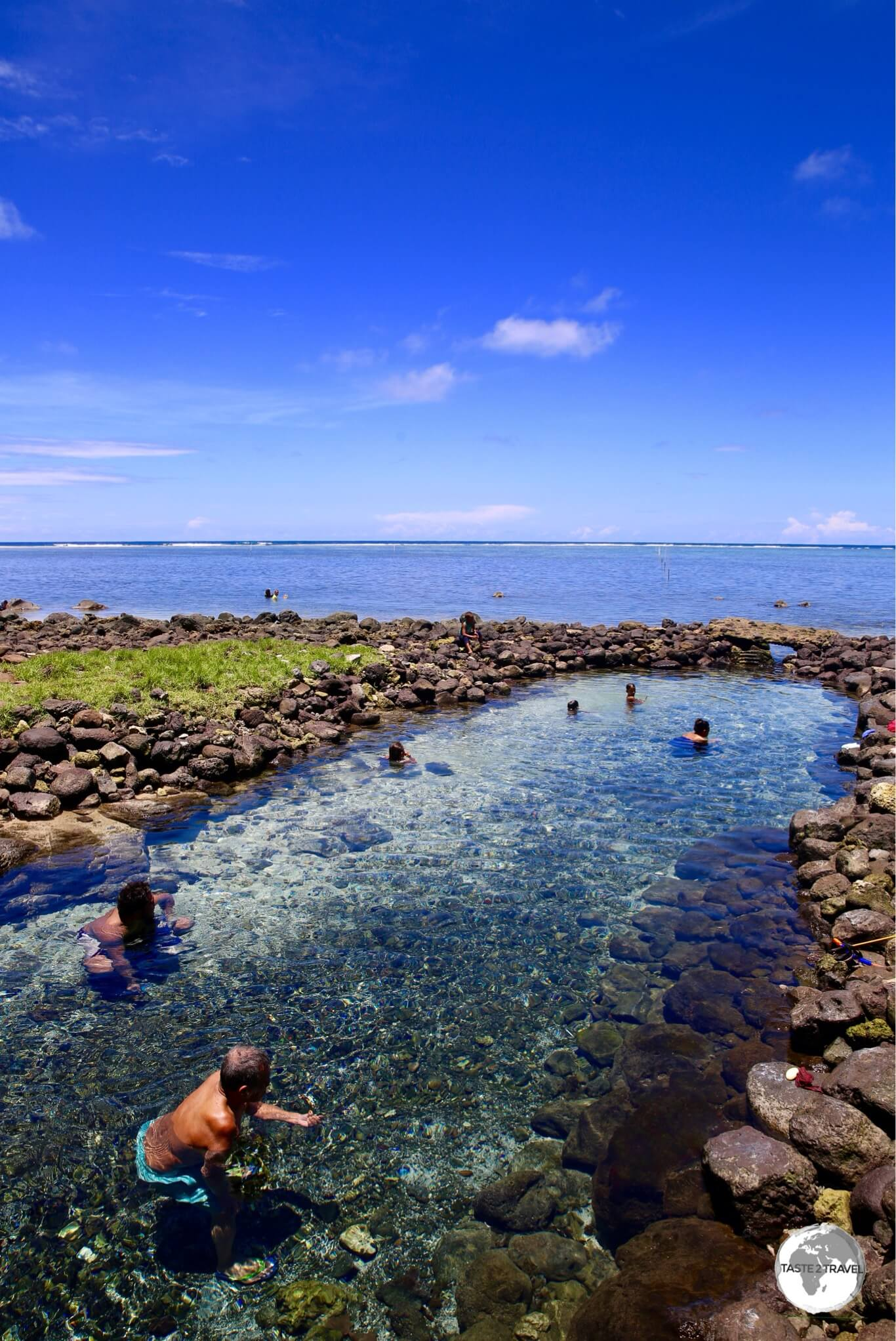 The beautiful Vaiole Tama Spring is fed by a source hidden inside a coastal cave.