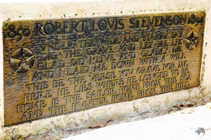 The plaque on the tomb of Robert Louis Stevenson on Mount Vaea.