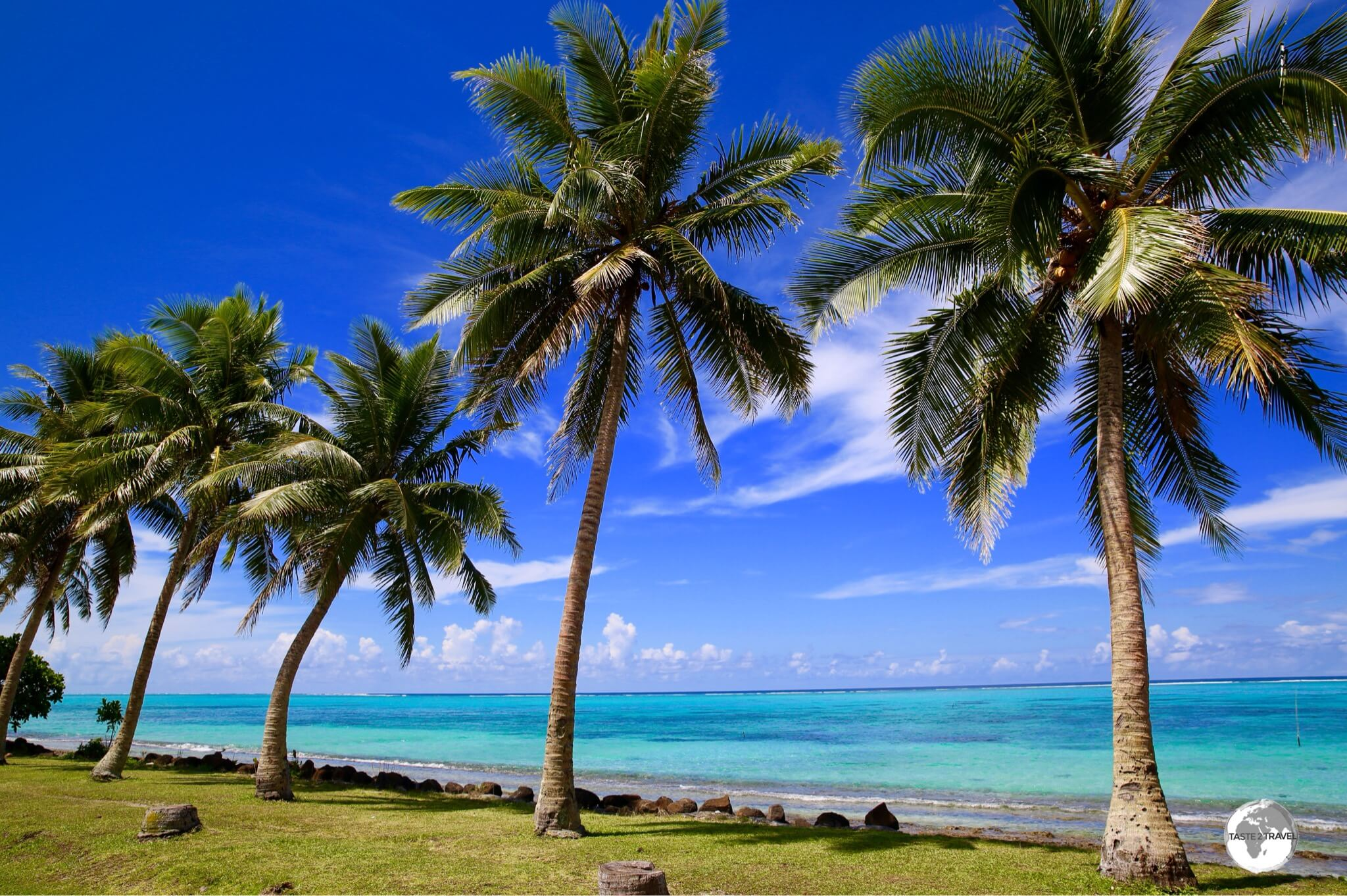Palm trees line the shoreline of the dazzling lagoon on the east coast of Savai'i.