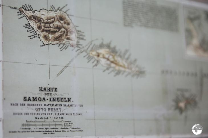 An old German map of Samoa which is on display at the Museum of Samoa in Apia.