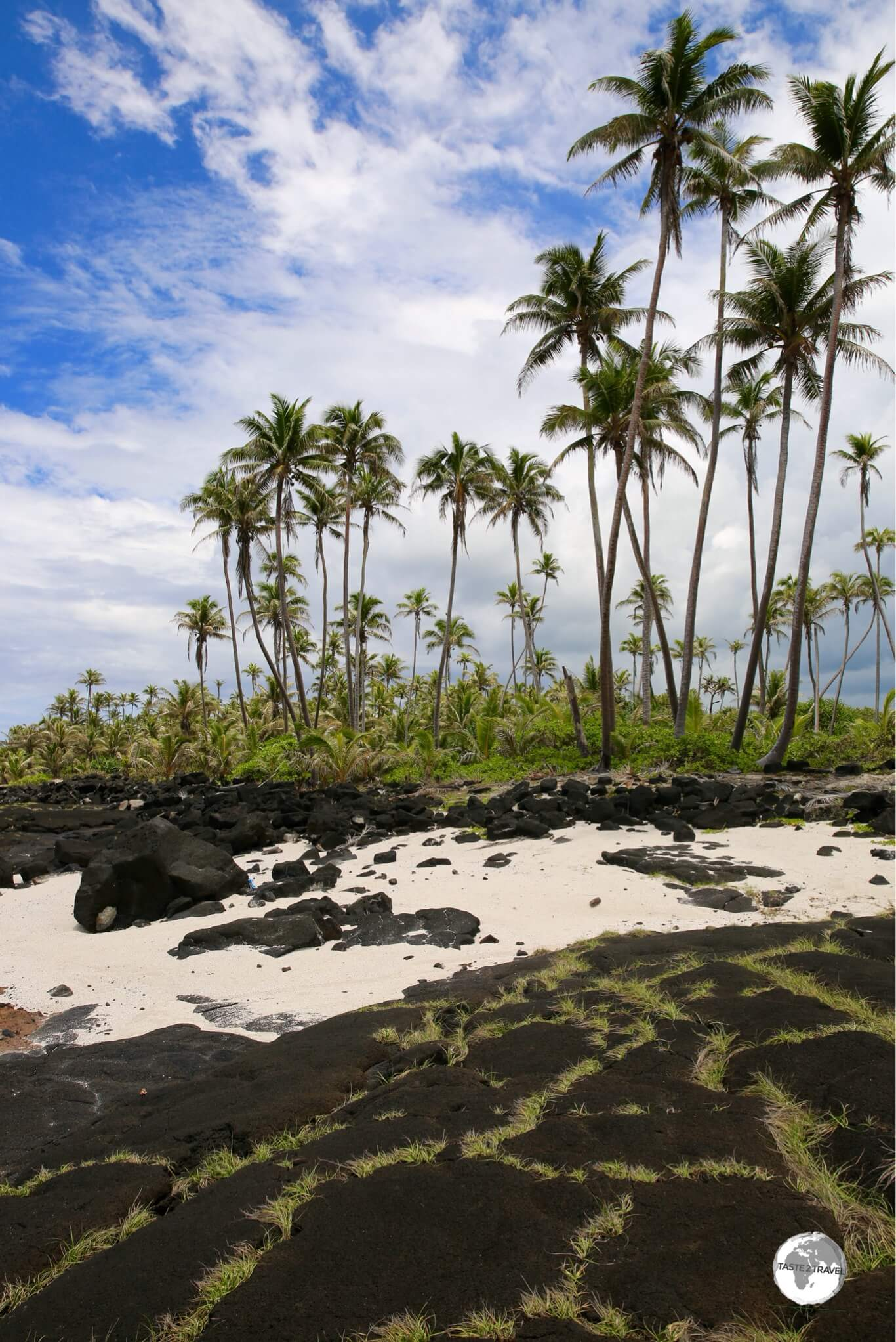 Ancient lava flows cover the beach around the Alofaaga blowholes.