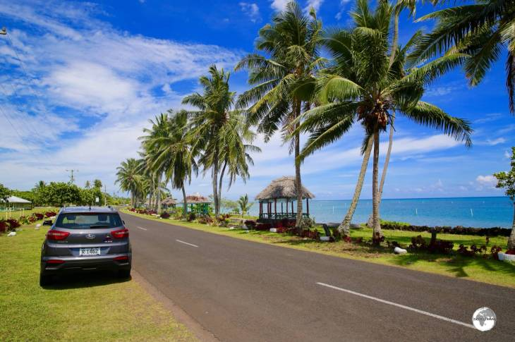 Touring picturesque Savai'i island in my rental car.