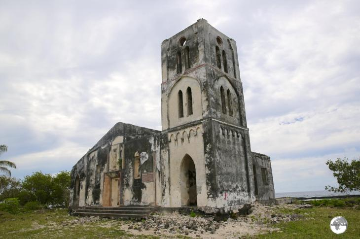 Falealupo Catholic Church was destroyed by the massive waves of cyclone Ofa in 1990.