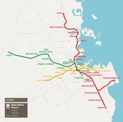 Map of Doha Metro. Source: Qatar Rail.