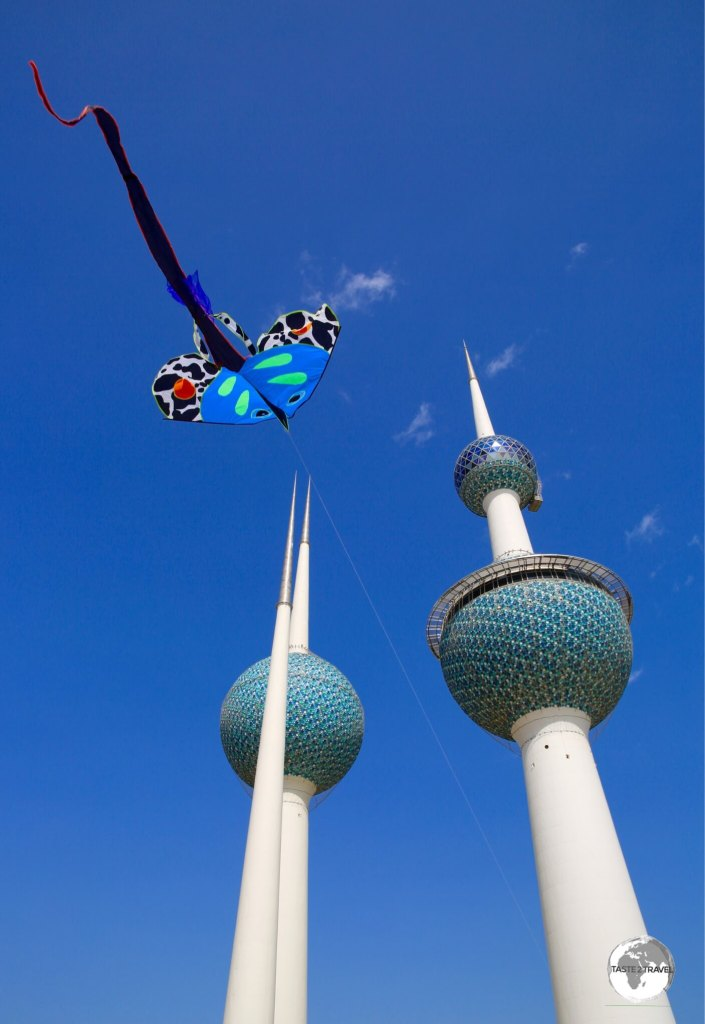 A great place to fly a kite – Kuwait Towers.