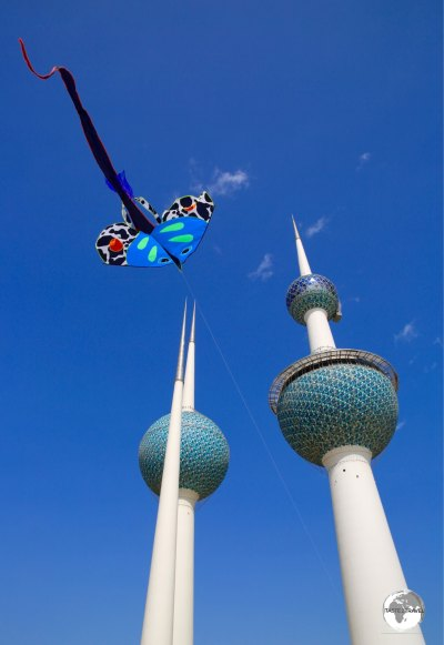 A great place to fly a kite - Kuwait Towers.