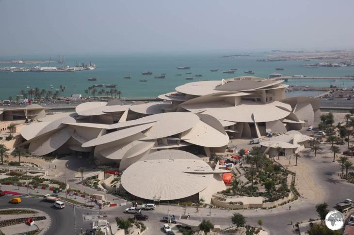 A view of the almost-completed National Museum of Qatar from my hotel room. The museum was designed by Jean Novel who was inspired by a desert rose.