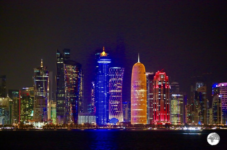 The Doha City Skyline at night.