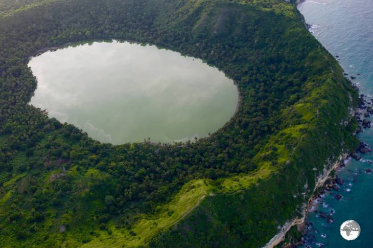 Located on Petite Terre, the water in Dziani Dzaha crater lake is twice as salty as the nearby sea water.