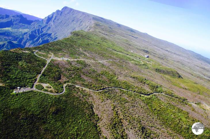 A view of <i>Le Maïdo</i>, and the sheer drop into the <i>Cirque de Mafate</i>, from my Corail helicopter flight.