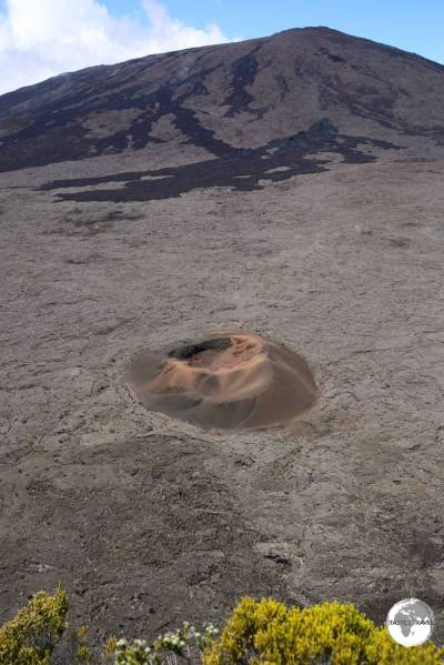 The Formica Leo crater at the Piton de la Fournaise volcano.