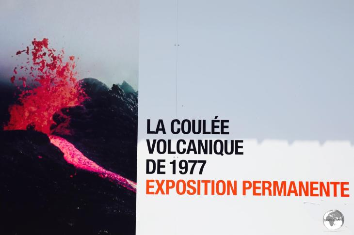 <i>La Coulée Volcanique de 1977</i> is a permanent exhibition which shows dramatic footage from the eruption which destroyed Piton Saint-Rose.