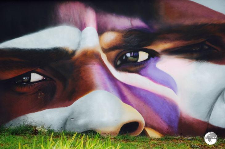 Street art in the town of Cilaos.