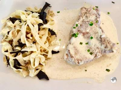 An amazing dinner at Le Faré - veal in a creamy mustard sauce with fresh pasta.