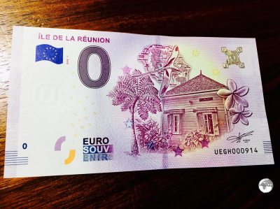 The Réunion €0 souvenir bank note.